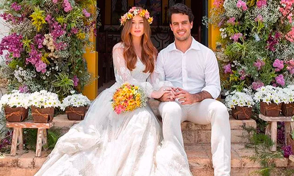 Marina Ruy Barbosa mostra detalhes do vestido do seu casamento religioso